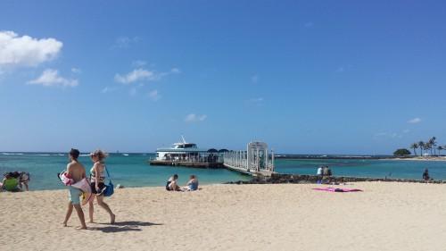 Areia mais bonita em frente ao hotel Hale Koa, e de onde sai o barco para o passeio de submarino